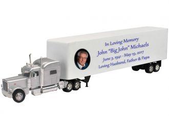 Peterbilt 389 Silver Truck Sleeper Cremation Urn