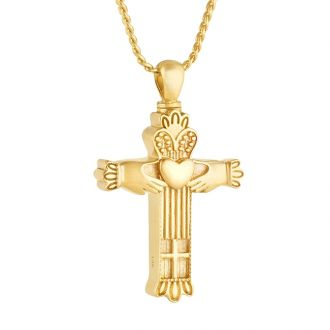 Claddagh Cross 14KT Gold Cremation Jewelry Urn