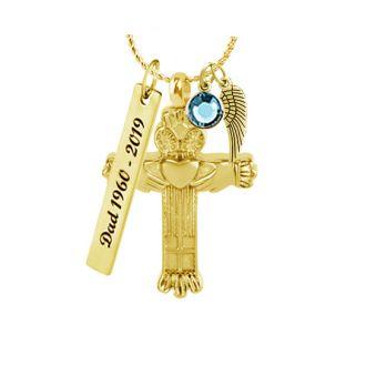 Claddagh Cross Gold Pendant Urn