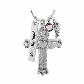 Claddagh Cross Pendant Urn - Love Charms Option