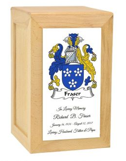 Coat Of Arms Rustic Oak Urn - Adult or Shared