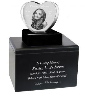 Memorial Heart Crystal Infinity Wood Urn Set
