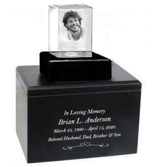 Memorial Crystal Infinity Wood Urn Set