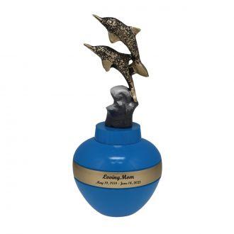 Dancing Dolphins Brass Urn