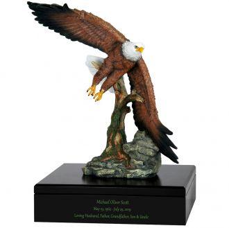 Eagle in Flight Art & Wood Cremation Urn