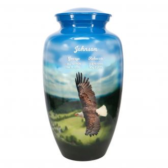 Eagle In Flight Cremation Companion Urn - Engraving Option