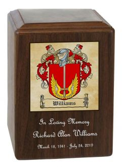 Family Coat of Arms Wood Cremation Urn