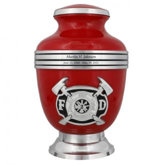Fire Fighter Red & Pewter Urn