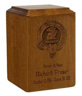 Fraser Family Badge Wood Urn For Ashes