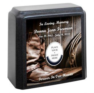 Cowboy or Cowgirl Memorial Granite Gray Adult Urn