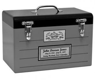 Toolbox Gray Cremation Urn - Adult - Medium - Companion