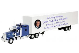 Kenworth W900 Blue Sleeper Truck Cremation Urn