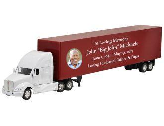 Kenworth T700 White Truck Cremation Urn