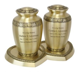 Leaves Of Peace Brass Companion Urns Heart Base