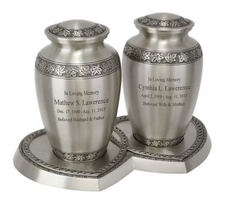 Leaves Of Peace Pewter Companion Urns Heart Base