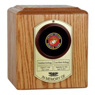 Military Branches of Service Companion Oak Dog Tag Urn - Purple Heart