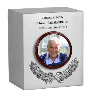 Photo Wreath Pewter Adult Cremation Urn