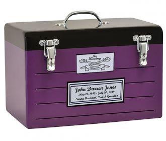Toolbox Purple Cremation Urn - Crossed Tools Option