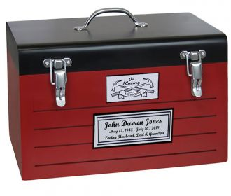 Toolbox Red Cremation Urn - Crossed Tools Option