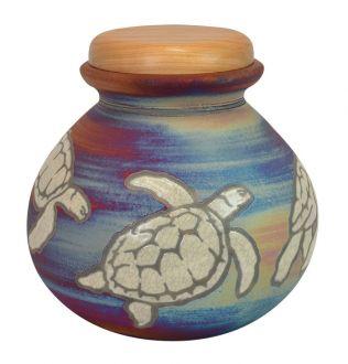 Sea Turtles Raku Cremation Urn