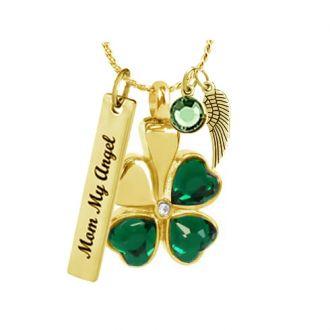 Shamrock Crystal Hearts Gold Necklace Ash Urn - Love Charms Option