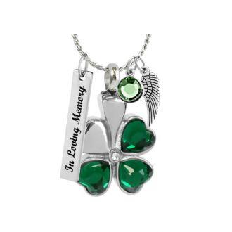 Shamrock Crystal Hearts Jewelry Urn - Love Charm Option