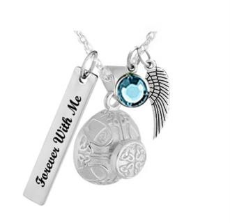 Celtic Knot Silver Cremation Jewelry Urn - Love Charms Option