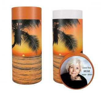 Tropical Beach Scattering Tube Urn - Photo & Text Options