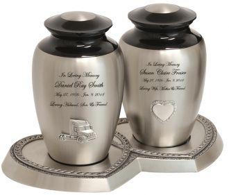 Pewter Medallion Companion Urns