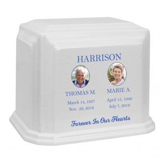 Monarch Companion Photo Options White Granite ~ For Two Cremation Urn