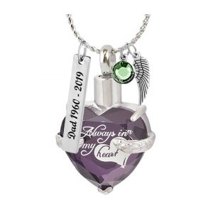 Always Purple Crystal Cremation Jewelry Urn - Love Charms Option