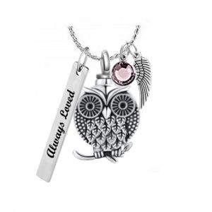 Owl of Love Sterling Silver Ash Urn - Love Charms™ Option