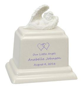 Angel of Protection© Infant Purple - Hearts - Baby Feet - Cross Urn